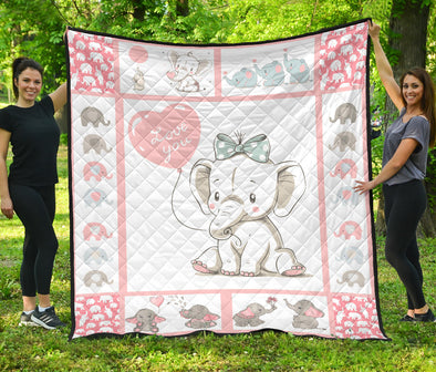 Pink Baby Elephant Quilt