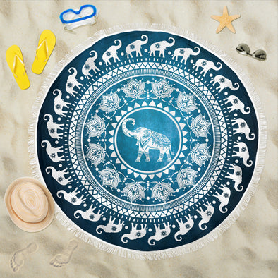 Elephant Mandala Beach Blanket