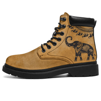 Tan Good Fortune Elephant All-Season Boots