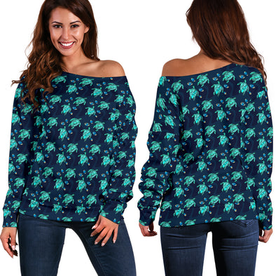 Turtle Love Off Shoulder Sweater | woodation.myshopify.com