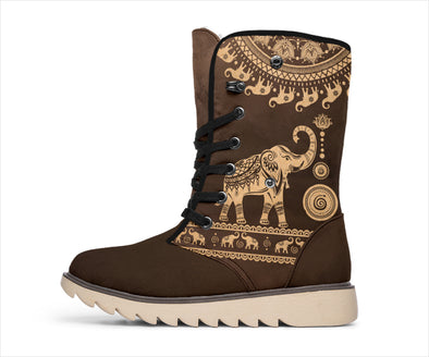 Brown Mandala Elephant Polar Boots