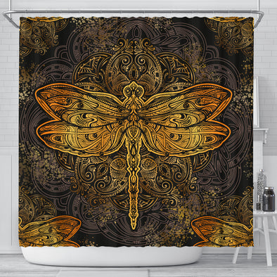 Golden Dragonfly Shower Curtain | woodation.myshopify.com