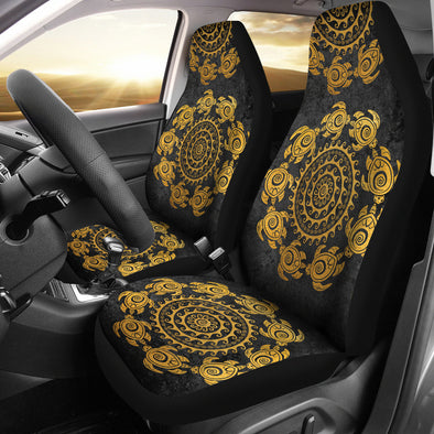 Golden Mandala Turtle Car Seat Covers