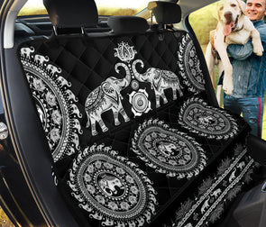 Black Mandala Elephant Pet Seat Cover