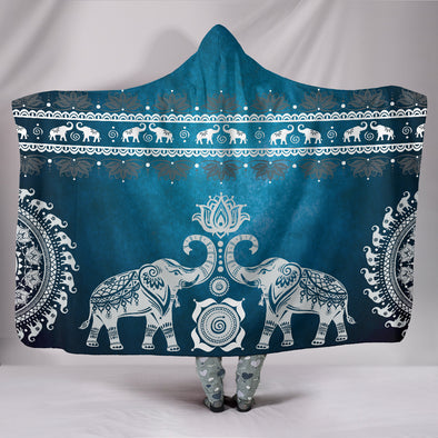 Blue Mandala Hooded Blanket | woodation.myshopify.com