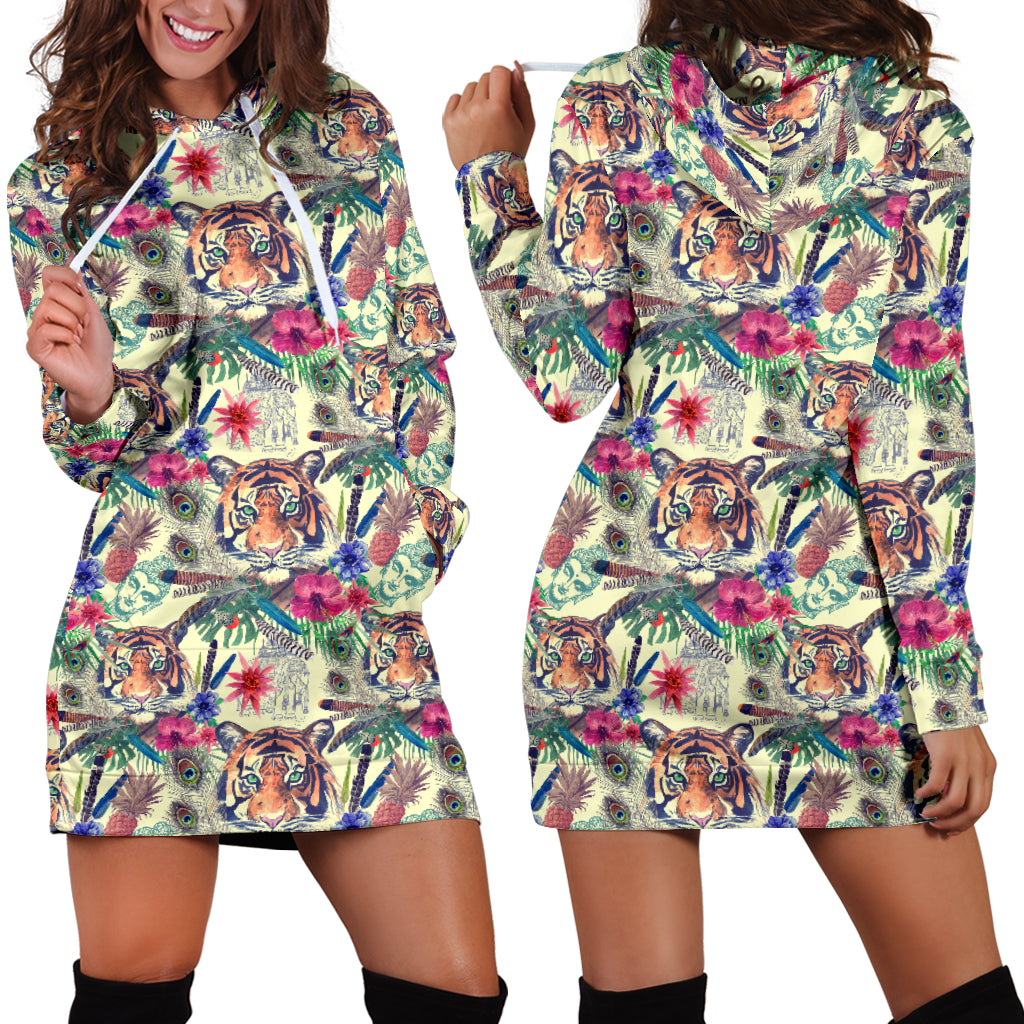 Bohemian Tiger Hoodie Dress