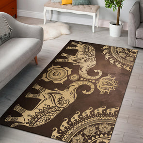 Brown Mandala Elephant Rug