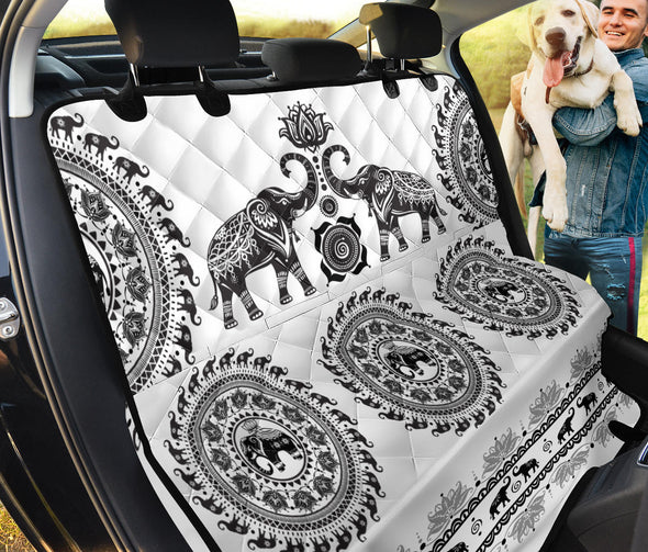 White Elephant Mandala Pet Seat Cover