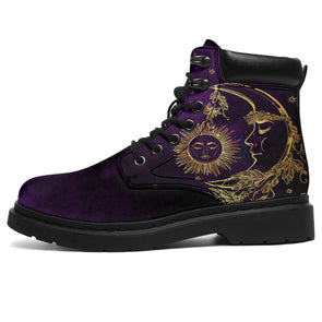 Purple Mystical Sun & Moon All-Season Boots