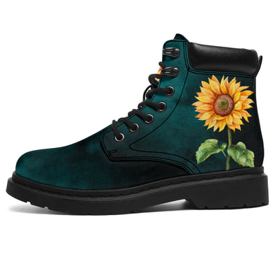 Teal Sunflower All-Season Boots