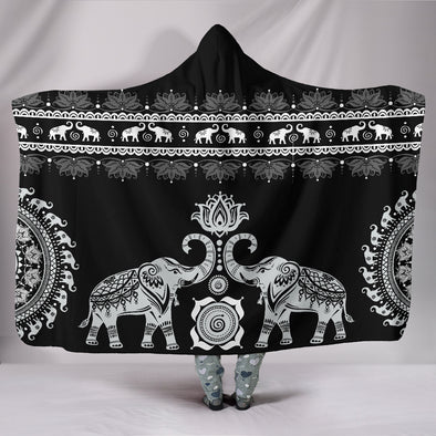 Black Mandala Hooded Blanket