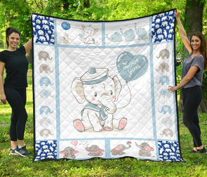 Blue Baby Elephant Quilt