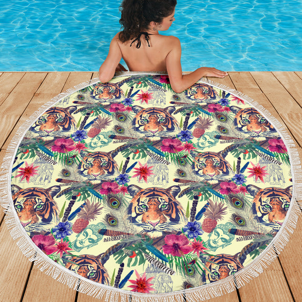 Bohemian Tiger Beach Blanket | woodation.myshopify.com