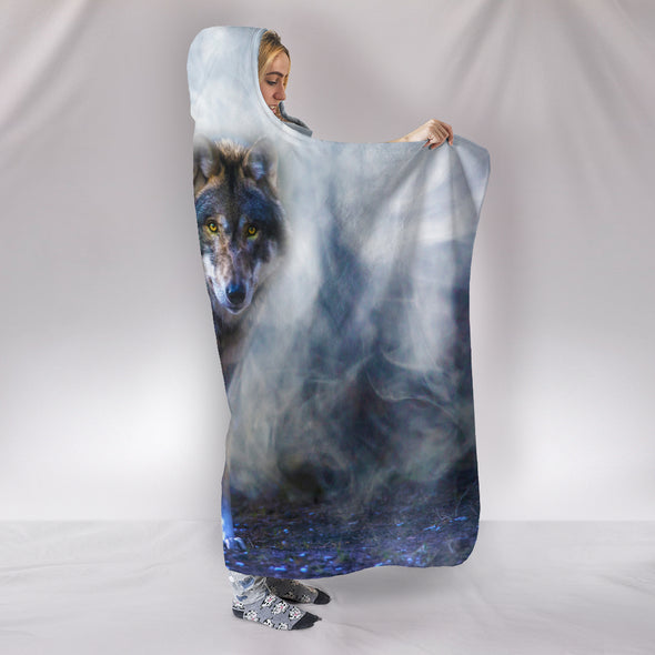 Mystical Wolf Hooded Blanket | woodation.myshopify.com