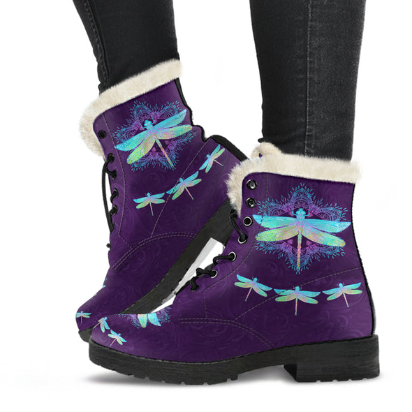 Bohemian Dragonfly Faux Fur Boots