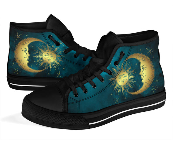 Teal Sun & Moon High Top Shoes