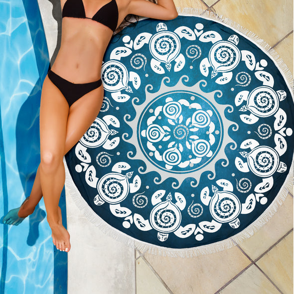 Turtle Mandala Beach Blanket | woodation.myshopify.com