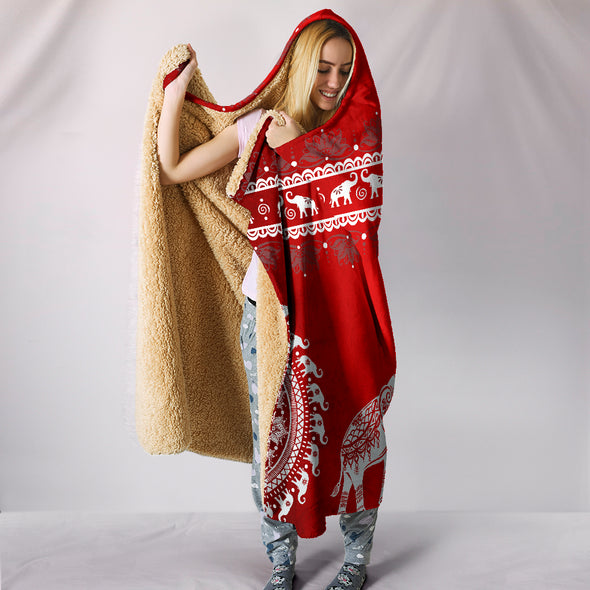 Red Mandala Hooded Blanket | woodation.myshopify.com