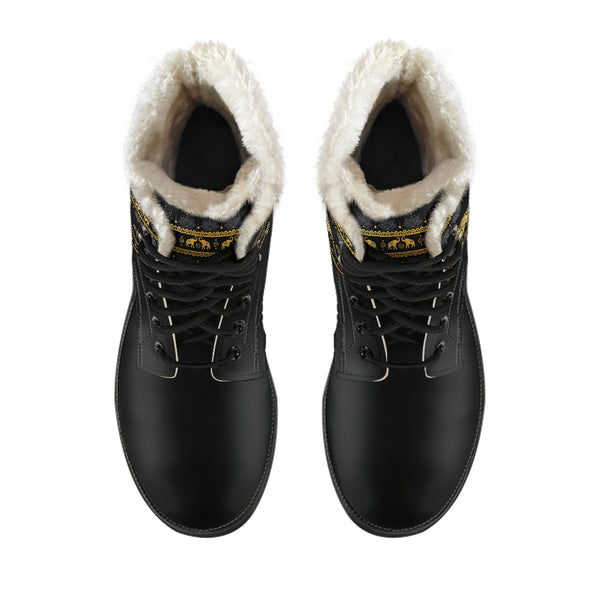 Golden Mandala Faux Fur Boots | woodation.myshopify.com