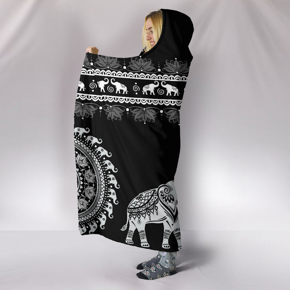 Black Mandala Hooded Blanket | woodation.myshopify.com
