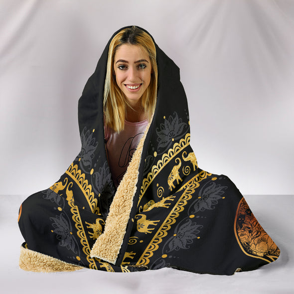 Elephant Mandala Hooded Blanket | woodation.myshopify.com