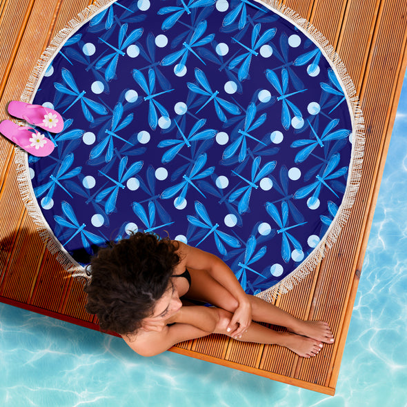 Spiritual Dragonfly Beach Blanket | woodation.myshopify.com