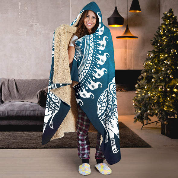 Blue Mandala Elephant Hooded Blanket