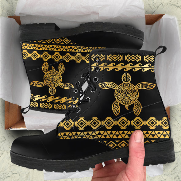 Golden Tribal Turtle Boots