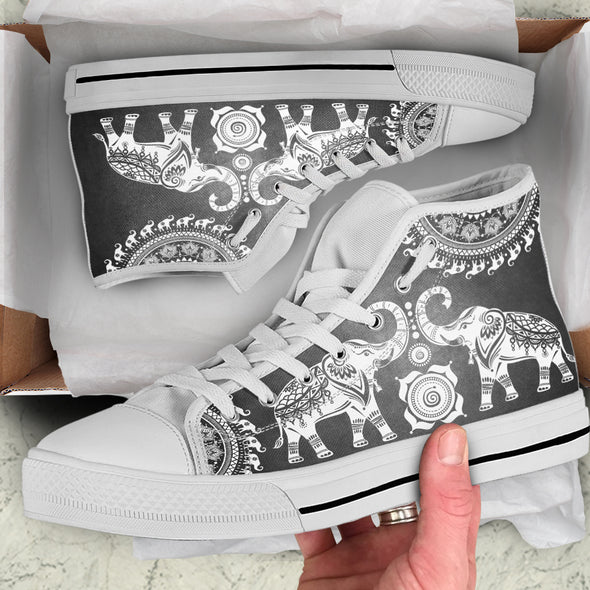Elephant Mandala High-Top Shoes | woodation.myshopify.com