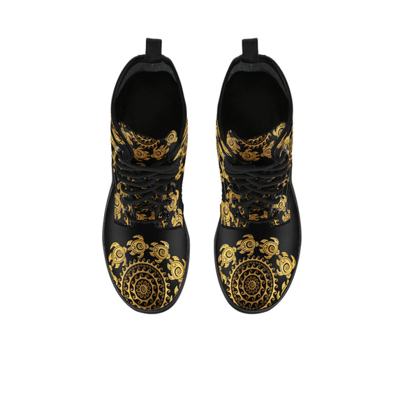 Golden Mandala Turtle Boots | woodation.myshopify.com