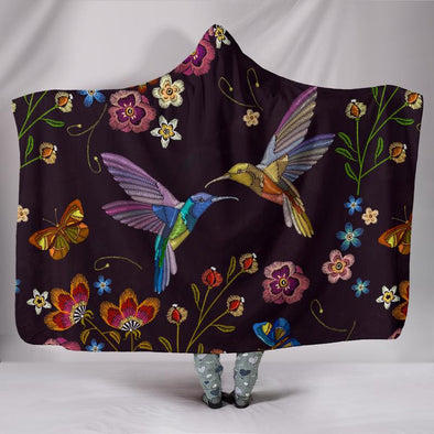 Bohemian Hummingbird Hooded Blanket