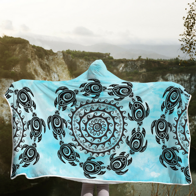 Turtle Mandala Hooded Blanket | woodation.myshopify.com