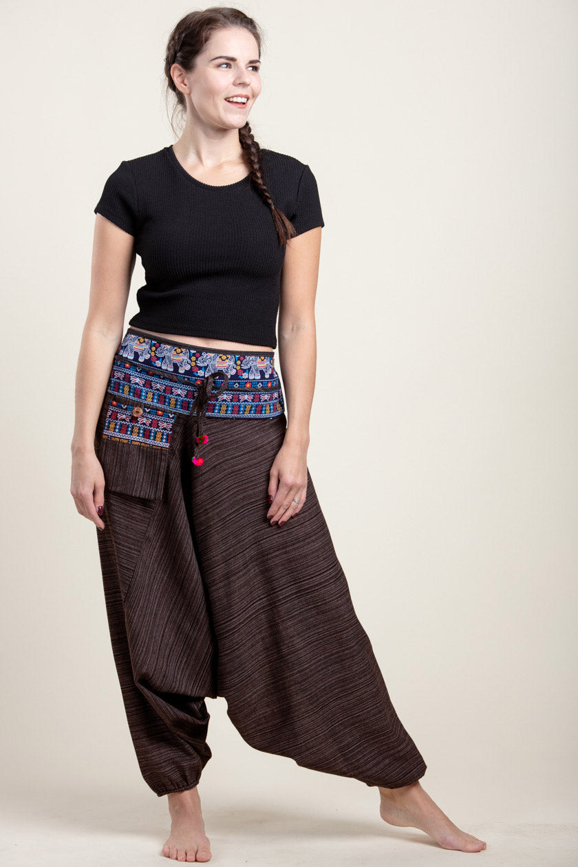 Pinstripe Elephant Brown Hill Tribe Artisan Low Cut Haaremihousut