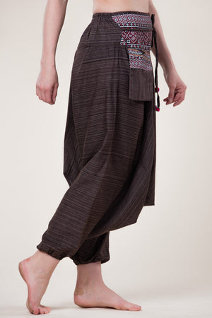 Pinstripe Brown Hill Tribe Artisan Low Cut Haaremihousut