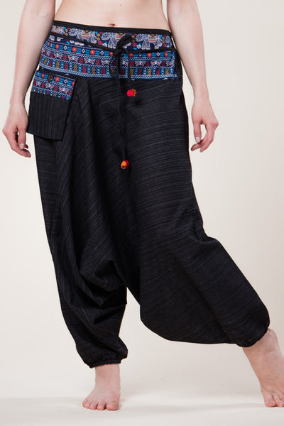 Pinstripe Black Hill Tribe Artisan Low Cut Haaremihousut