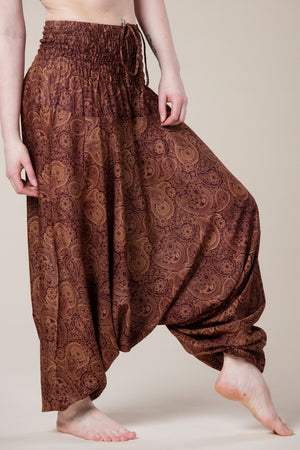 Ruskeat Royal Brown Paisley Artisan Bandeau Jumpsuit Haaremihousut sivulta