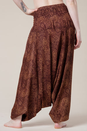 Ruskeat Royal Brown Paisley Artisan Bandeau Jumpsuit haaremihousut takaa