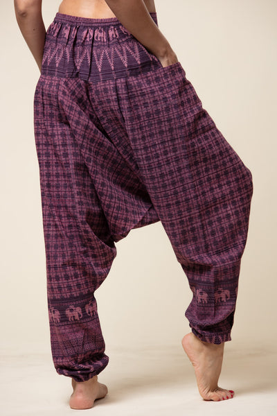 Elephant Purple Hill Tribe Artisan Low Cut Haaremihousut