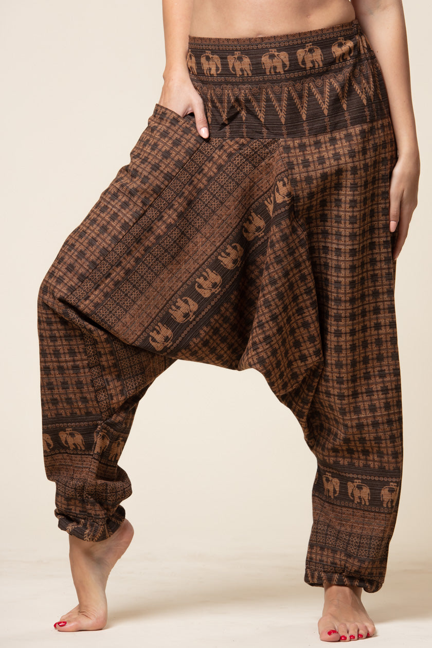 Elephant Brown Hill Tribe Artisan Low Cut Haaremihousut