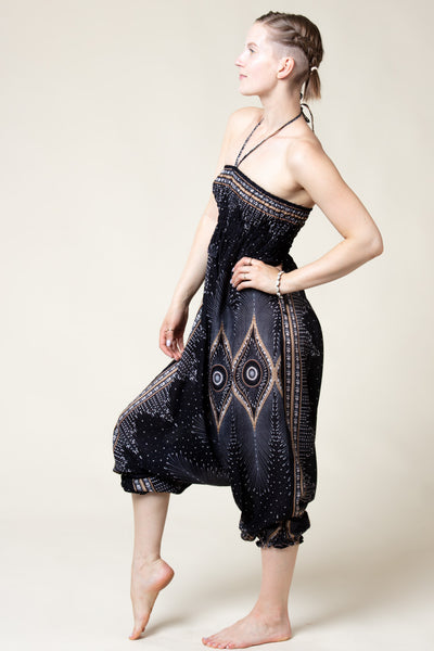 Diamond Peacock Black Artisan Jumpsuit Haaremihousut