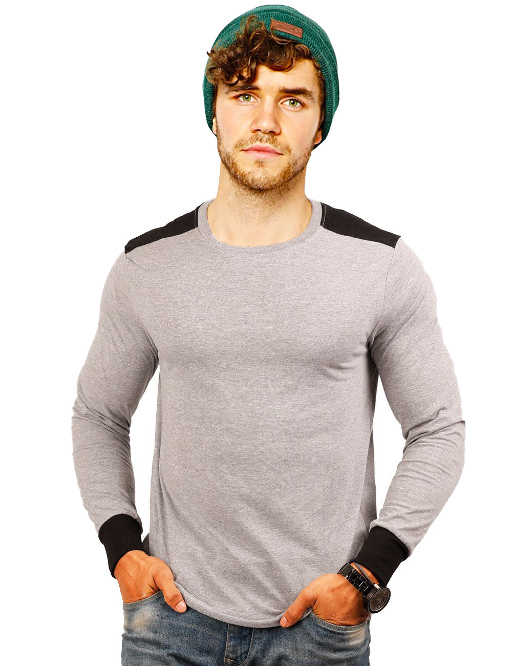 Gray Black Double Panel T-Shirt- Full Sleeves