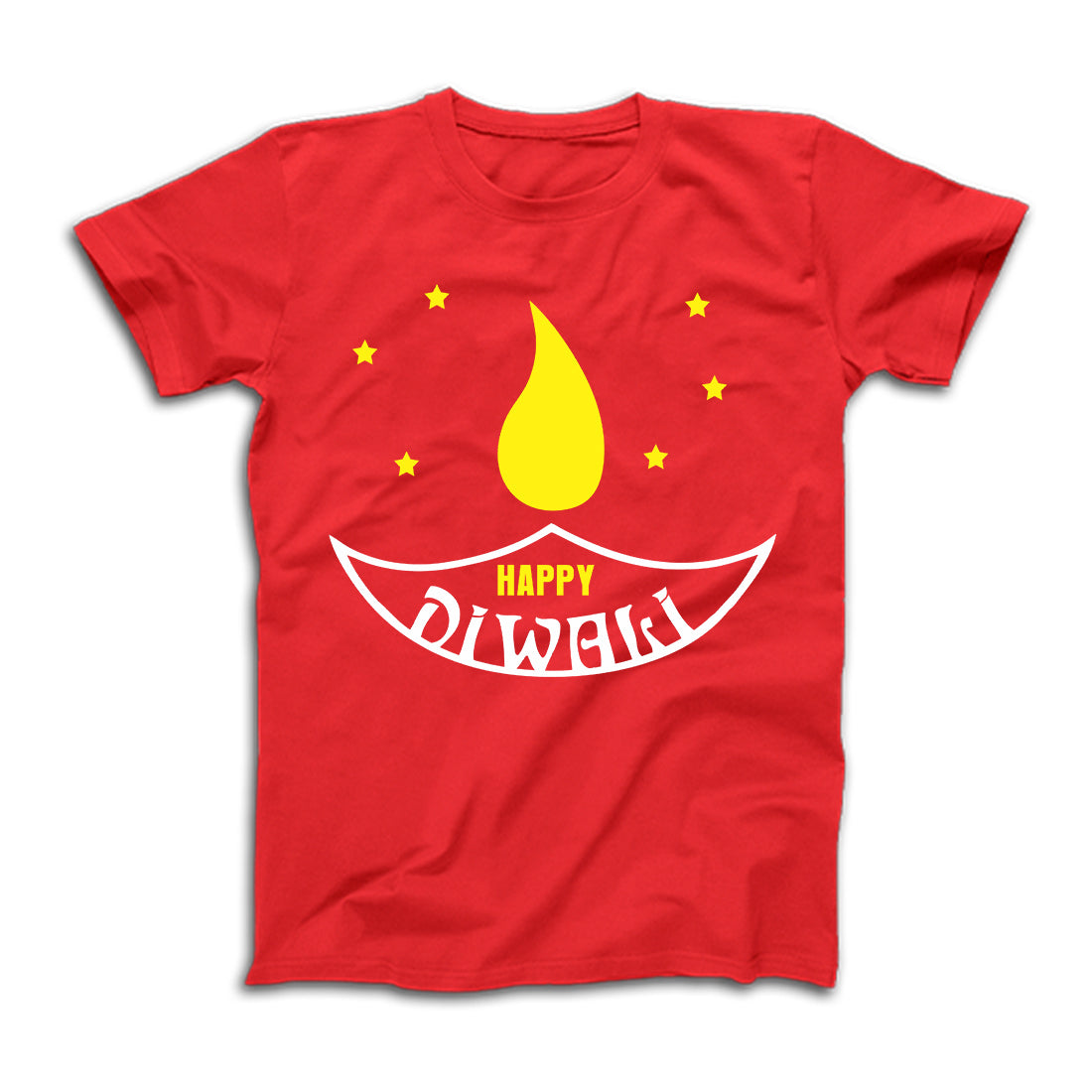 Happy Diwali TShirt in Red With Diya
