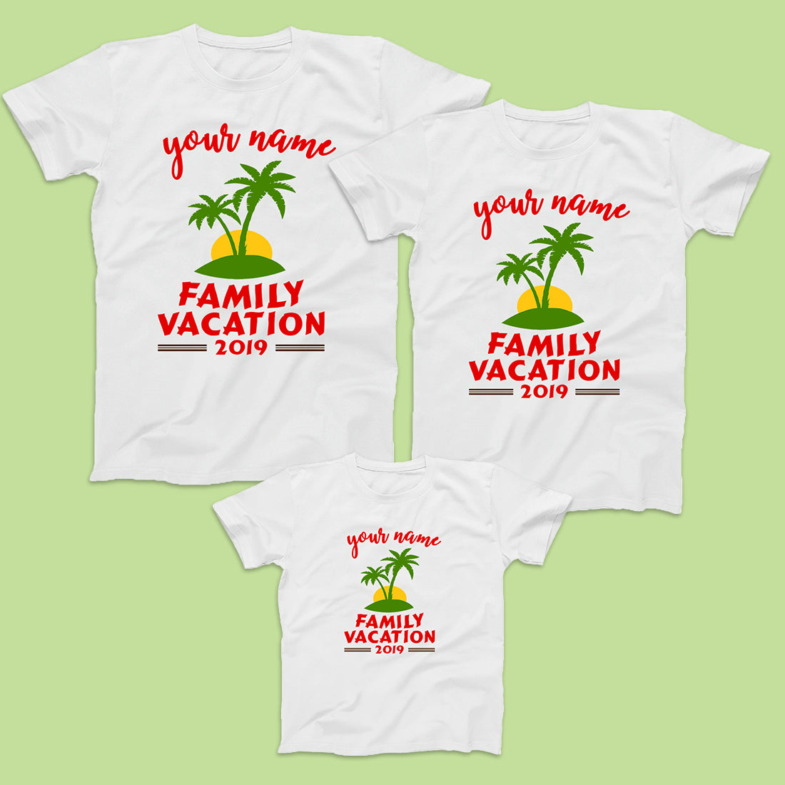 Family Vacation 2019 Travel T-Shirts for 3-Custom