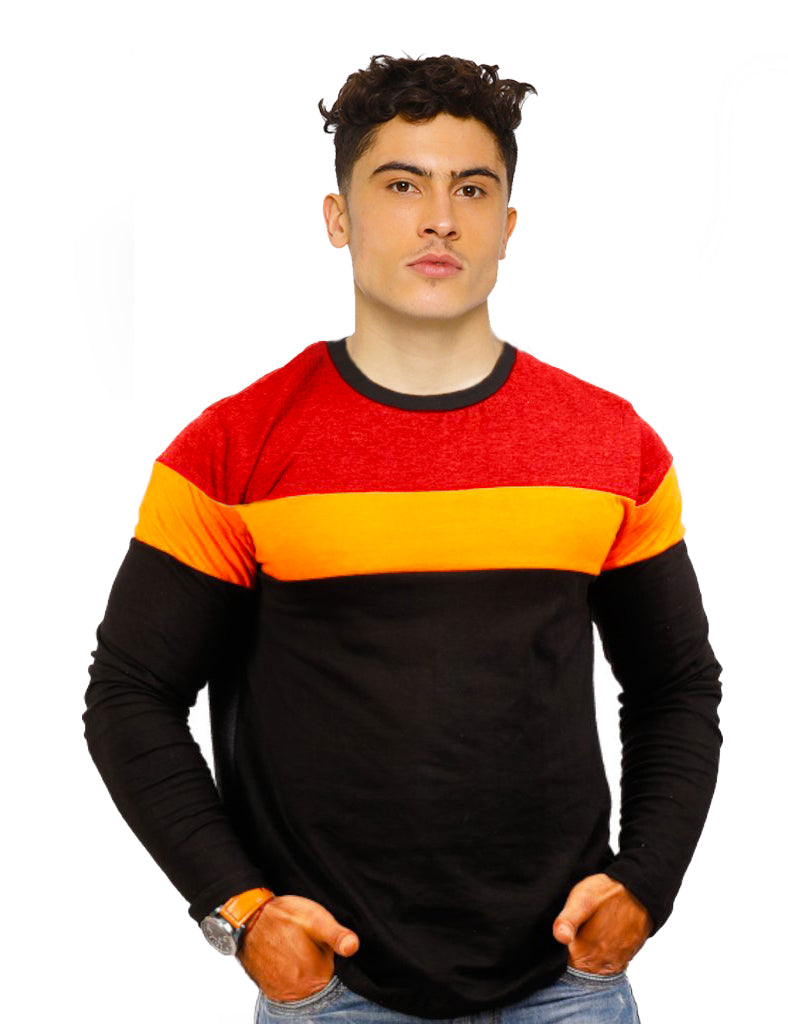 Red Yellow Black Triple Panel T-Shirt Full Sleeves