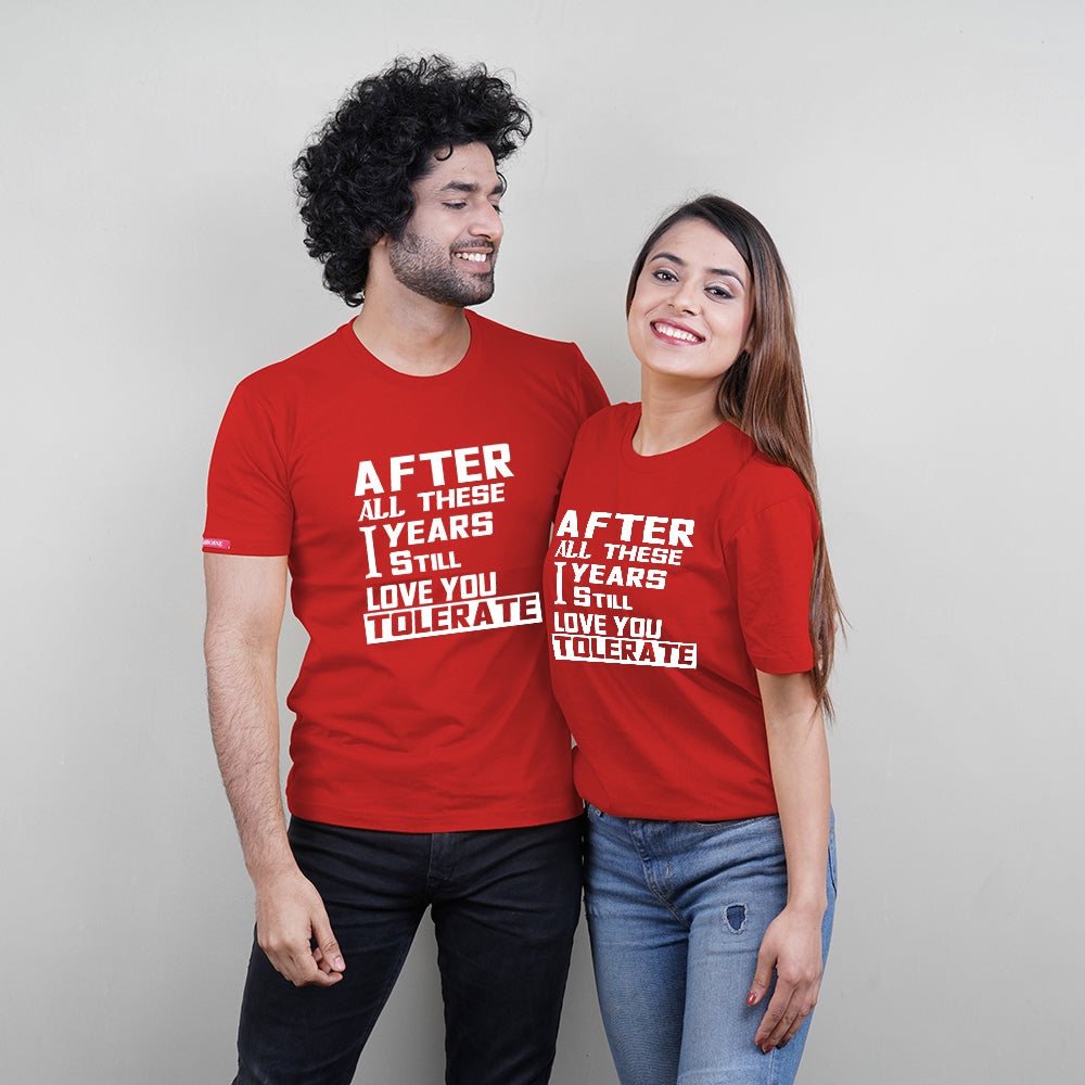 After All These Years Red Couple T-Shirts