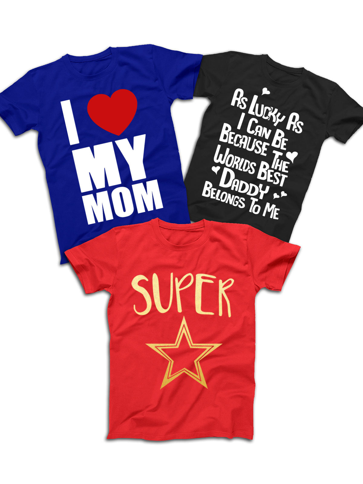 Kid T-Shirt Pack of 3  (Super Star, I love My Mom, As Lucky)