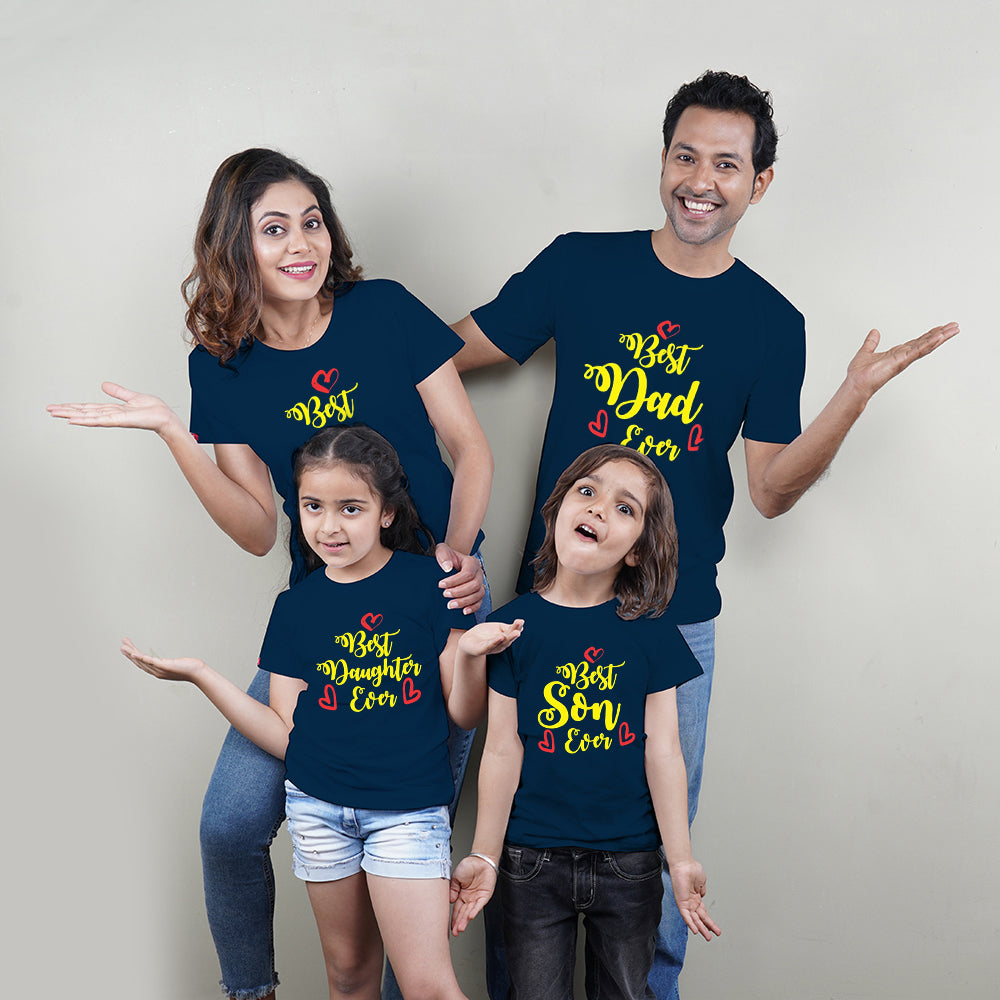 Best Mom Dad Son Daughter Ever Family TShirts for 4