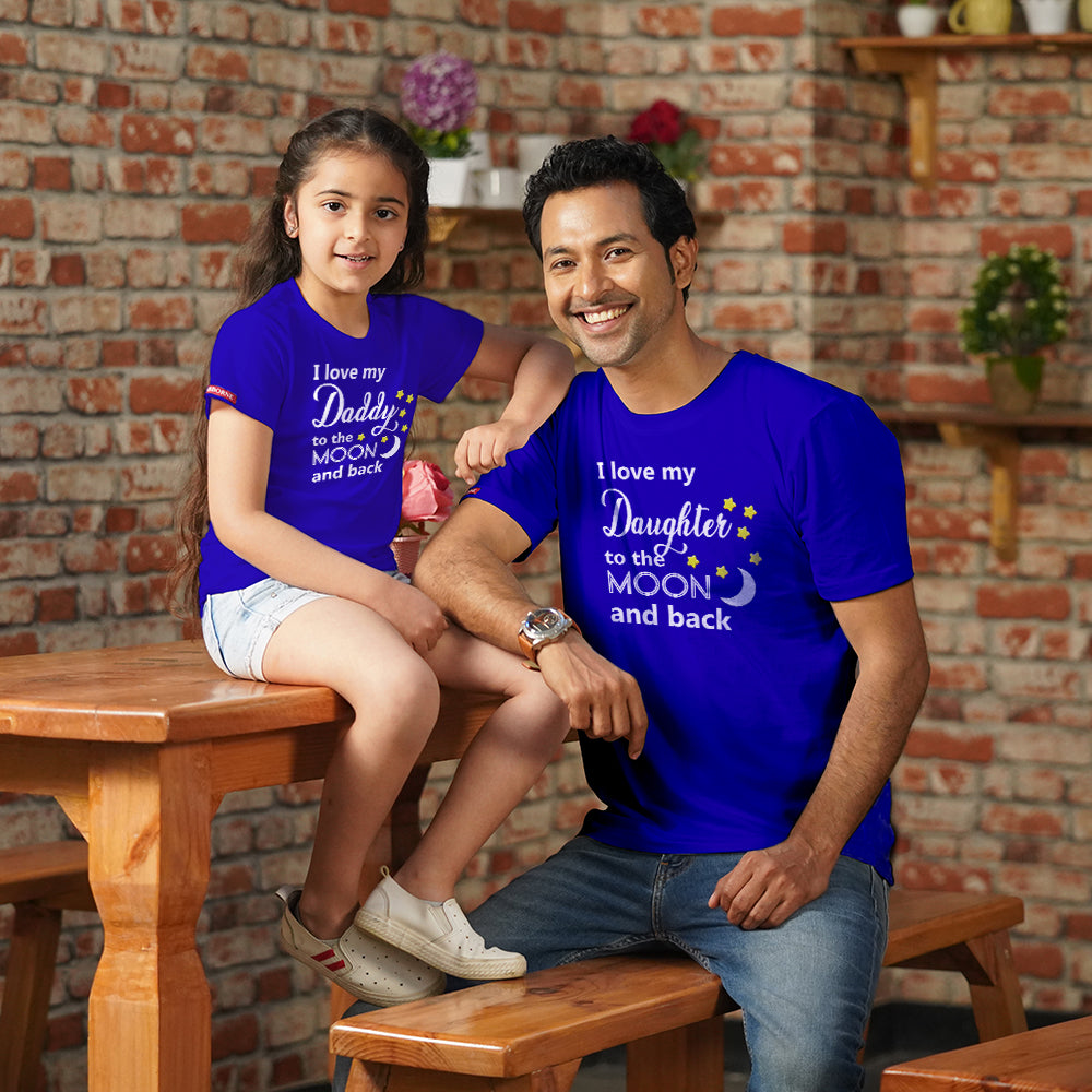 Love To The Moon And Back Dad Daughter TShirts Combo