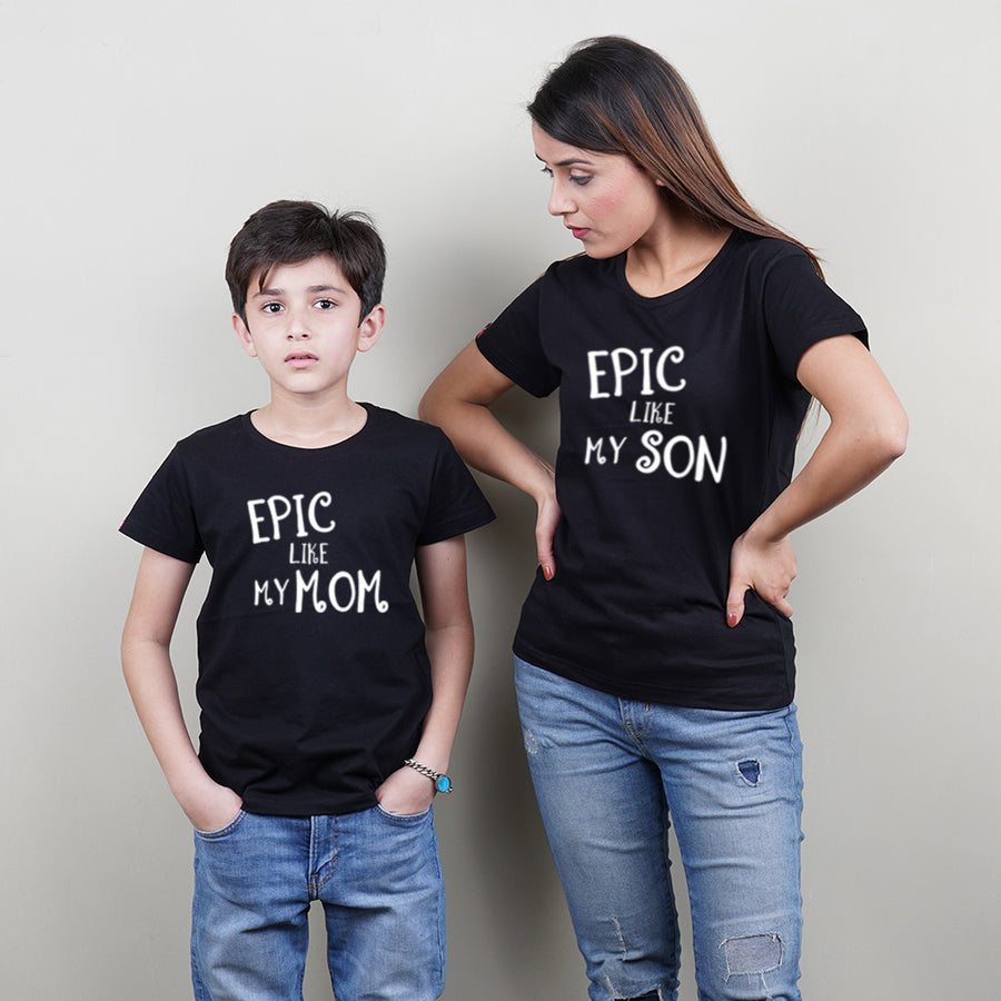 Stubborne Epic Mom Dad Black Matching T-Shirt