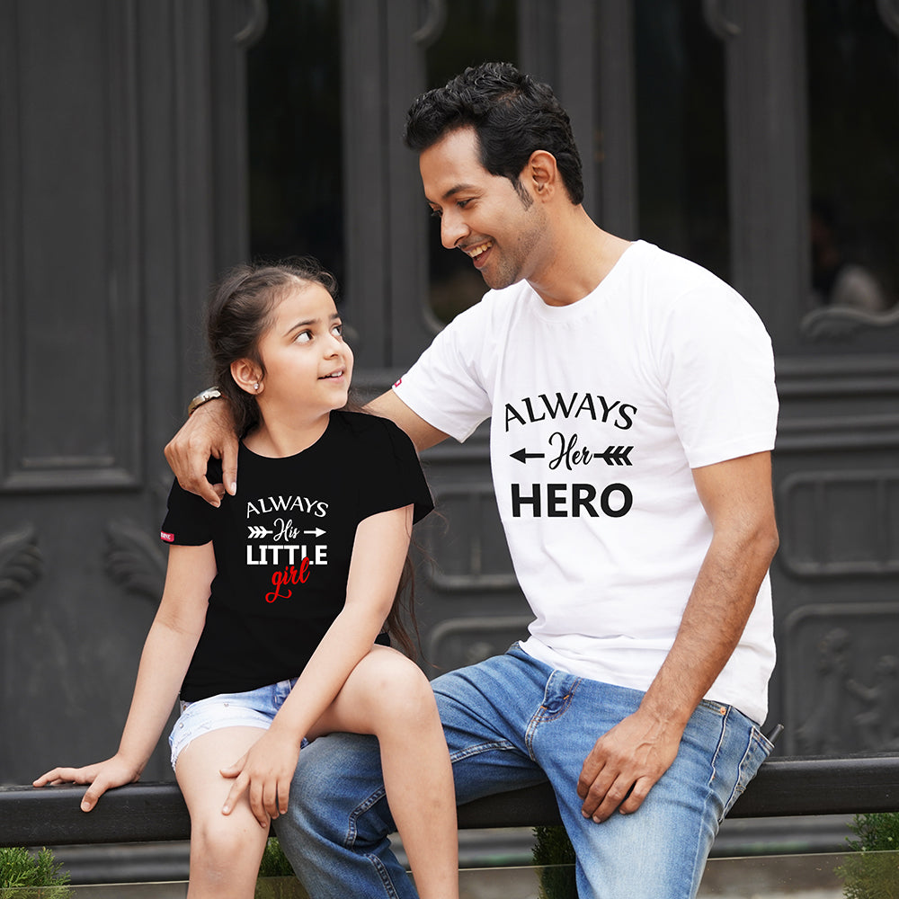 Hero Little Girl Dad Daughter TShirts Combo